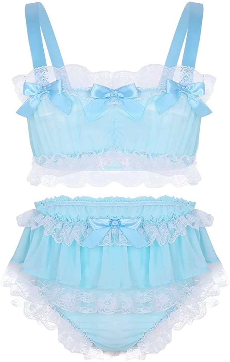 Yartina Men's Sissy Lingerie Set Ruffled Lace Crop Top with Skirted Panties 2 Piece Pajamas