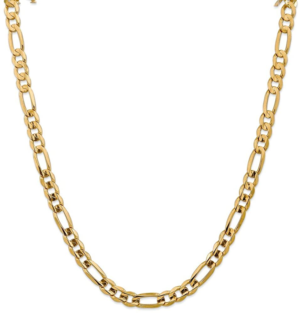 Leslie's 10k Yellow Gold Yellow Gold 7.5mm Concave Figaro Chain Necklace for Men Women
