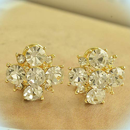 Cute New Yellow Gold Plated Party Round Clear Crystal CZ Cluster Stud Earrings For Women Lady