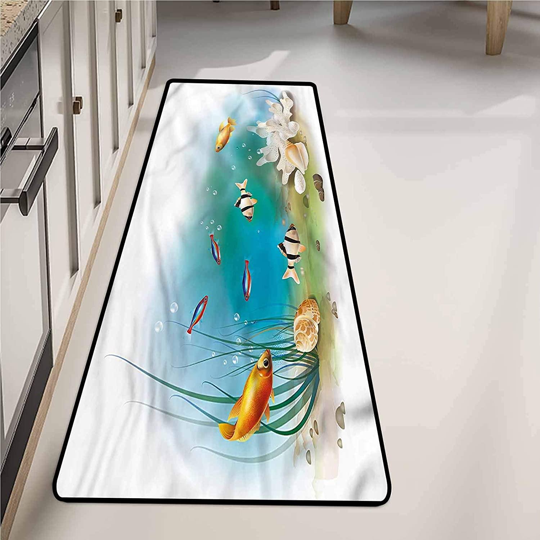 Bathroom Mat 24 x 72 Inch, Aquarium Fishes Sea Plants Shells Non-Slip Area Rugs