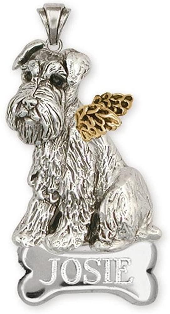 Schnauzer Angel Pendant Jewelry Silver And 14k Gold Handmade Schnauzer Pendant D55-TNANP
