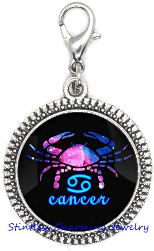 Zodiac Constellation Zipper Pull, Constellation Zipper Pull, Zodiac Zipper Pull, Cancer Zipper Pull, Birthday Zipper Pull-JV34