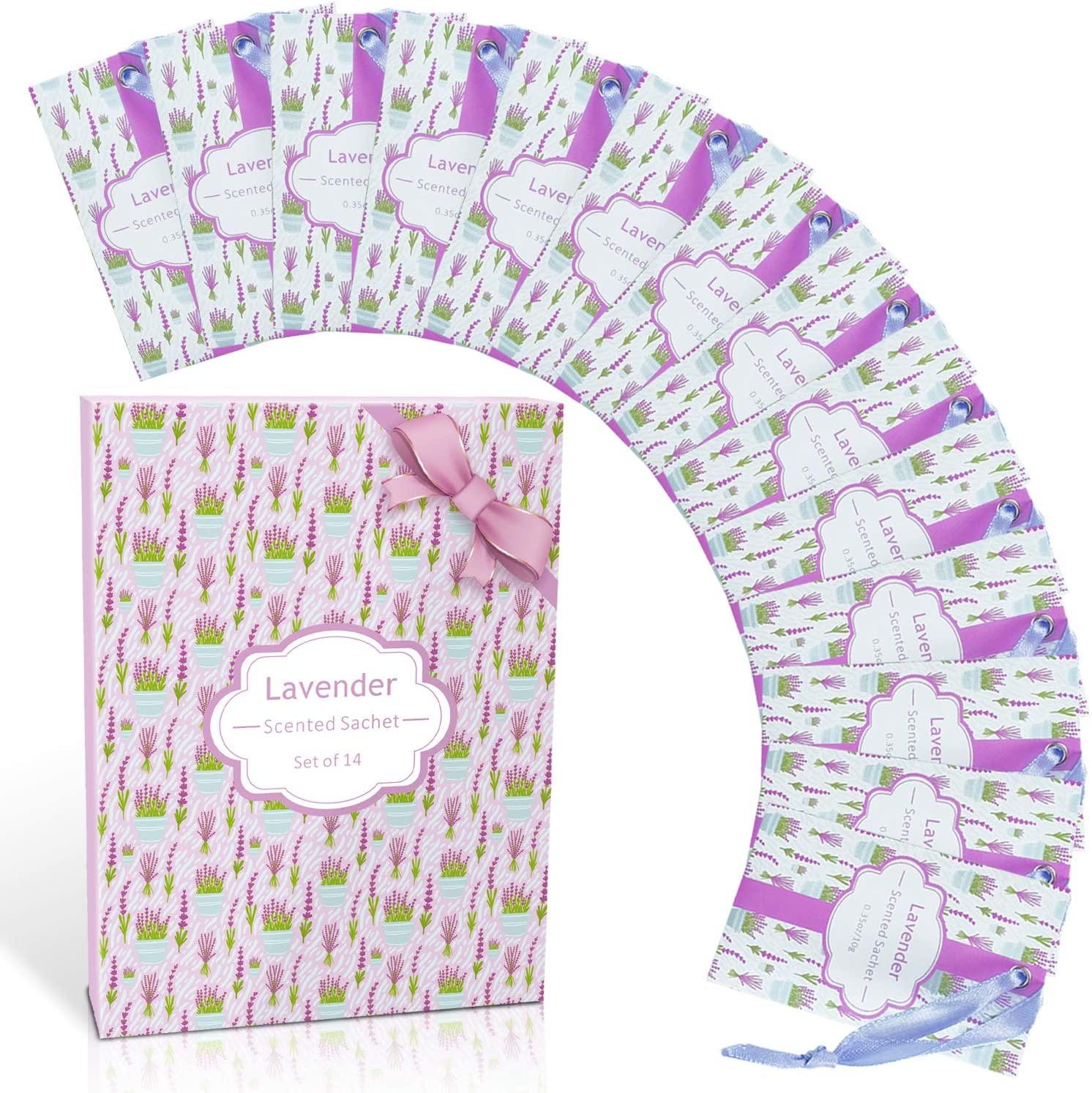 LA BELLEFÉE Scented Sachet,14-Packs Lavender Fragrance Packets Perfume Envelopes Sachets, Idea Gift for Home, Wardrobe, Drawer, Car, Closets