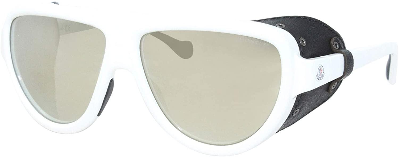 Sunglasses Moncler ML 0089 21C Shiny White, Black Leather Blinkers/Smoke Ivory