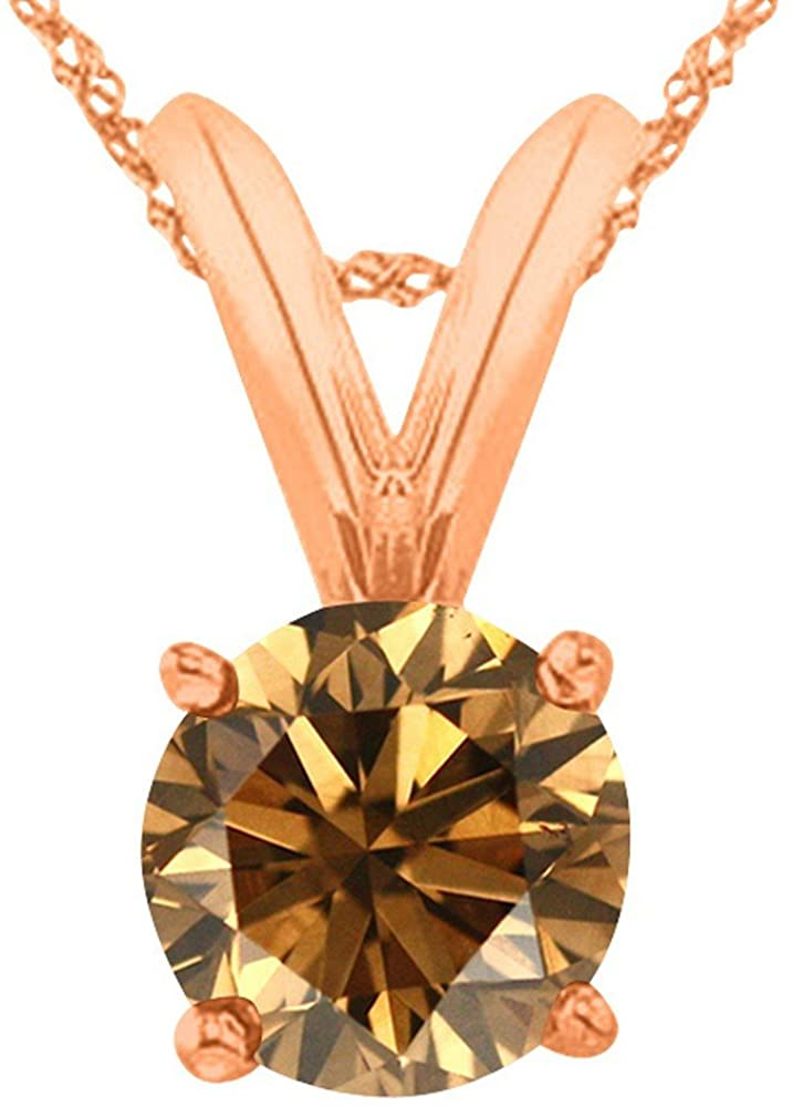 1/2-5 Carat Round Brown Diamond 4 Prong Pendant Necklace (AAA Quality) W/ 16
