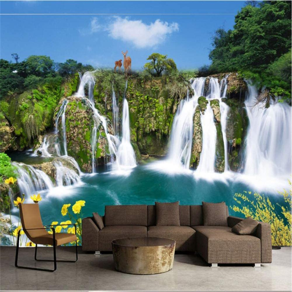 WOshiDD Mural Wallpaper,Feng Shui Landscape Customize 4D Wallpaper Hd Print Art Print Large Silk Fresco Poster Picture Wall Painting for Tv Wall Entrance Home Decor,200Cm(W) X100Cm(H)(6'7