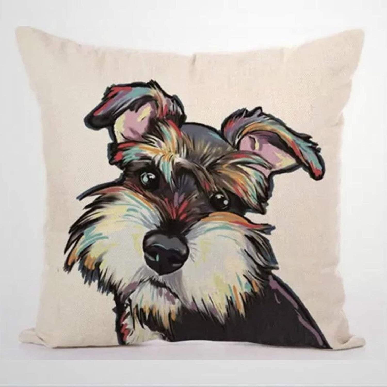BYRON HOYLE Dog Watercolor Cartoon Schnauzer Cushion Cover,Throw Pillow Cover,Rustic Linen Decorative Lumbar Pillowcase for Chair Room Sofa car,Home Decor,Housewarming 1818 Inch