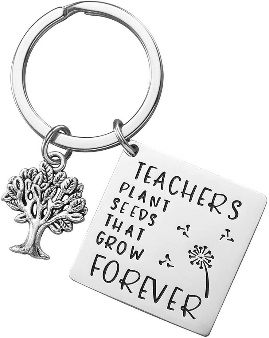 XGAKWD Teacher Appreciation Gift Keychain, Graduation Gifts for Teachers, Teachers Plant Seeds That Grow Forever Teacher Gifts Key Chain for Women Men (Tree of Life)