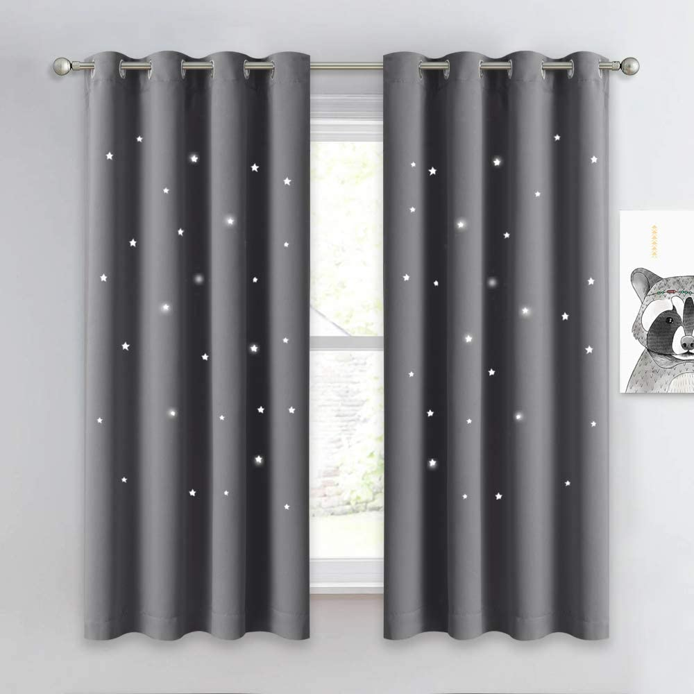 NICETOWN Hollow Star Blackout Curtain - Magic Night Sky Twinkle Star Nap Time Essential Kids Bedroom Window Curtain Drapery for Kids Room/Baby Nursery (Grey, 1 Panel, W52 x L63-inches)