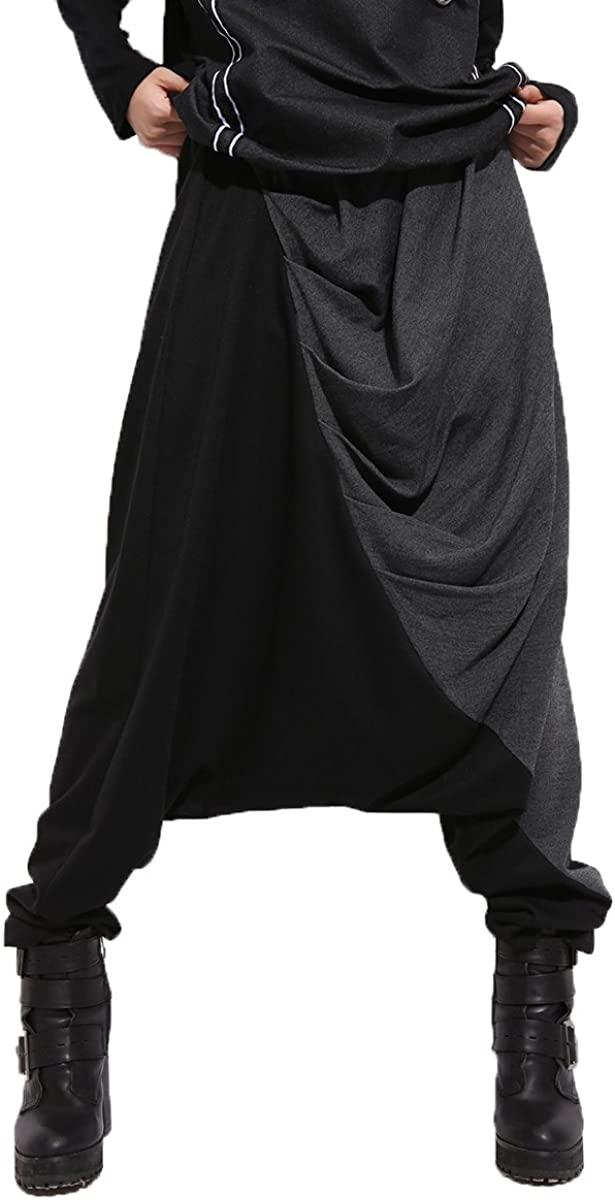 ellazhu Women Baggy Harem Drapes Color-Block Pants OneSize GM274 Black