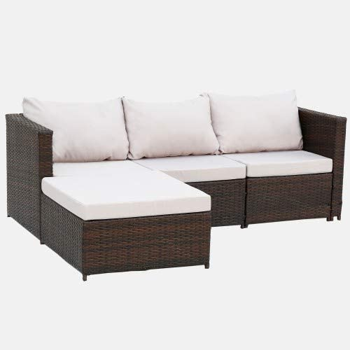2-Piece Outdoor Conversation Set Rattan Patio Furniture Set Bistro Set Sofa Chairs with Coffee Table (Gray Cushions)