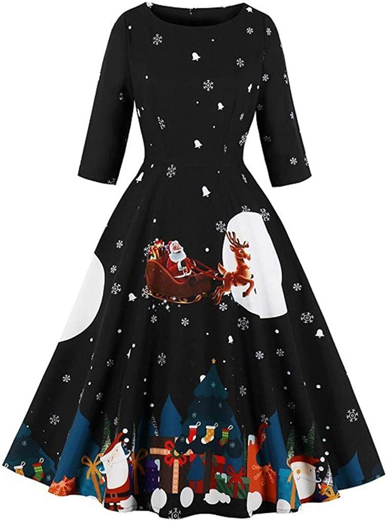 ZEFOTIM 2019 Christmas Dress, Women's Fashion Christmas Print Dress O-Neck Zipper Pocket Hepburn Party Dress