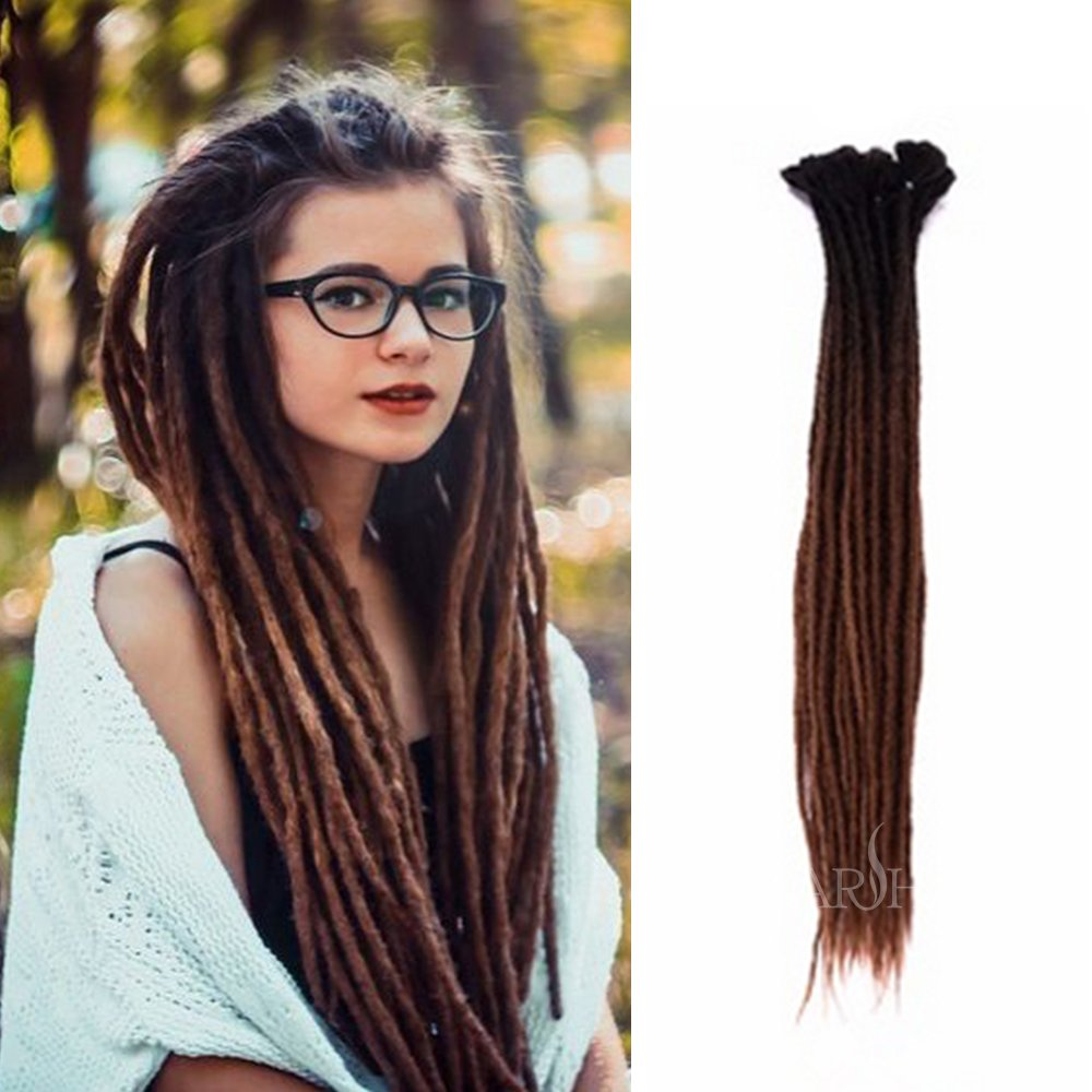 Dsoar 24 Inch Ombre Dreadlock Extensions Handmade Synthetic Dreads 10 Strands/Pack Crochet Reggae Locs (Ombre Black and Dark Brown)