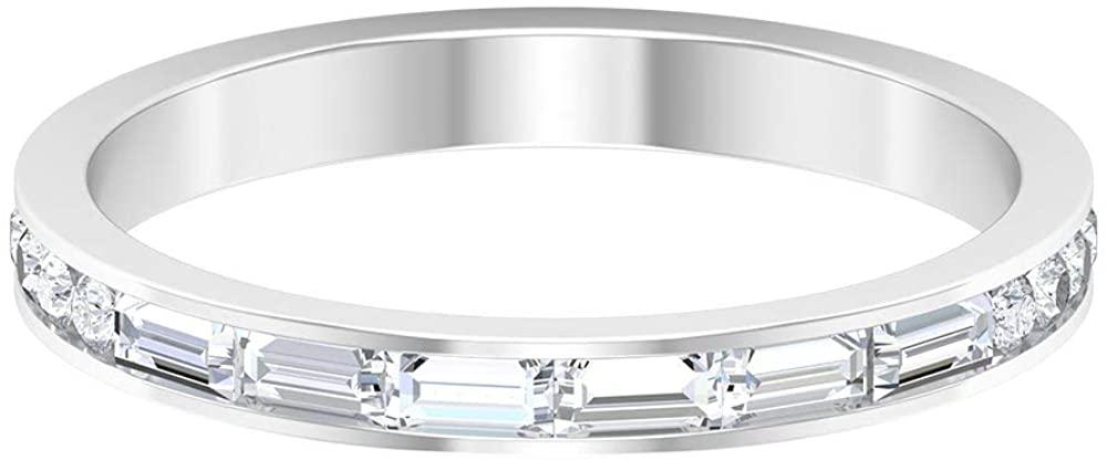 Vintage 1/2 CT Certified Diamond Cluster Wedding Engagement Ring, HI-SI Baguette Round Diamond Wedding Anniversary Eternity Ring, Bridal Promise Rings,14K Gold, Customizable ring