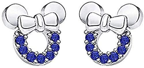 Round Shape Created Blue Sapphire 14k White Gold Plated 925 Sterling Silver Minnie Mouse Bow Earrings Baby Girls Earrings