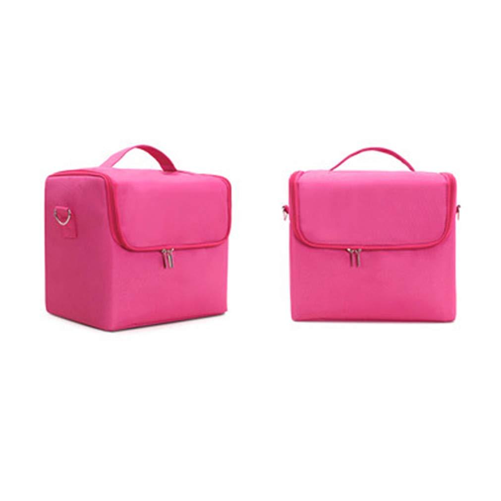 Fashion Women Makeup Organizer Large Capacity Multilayer Clapboard Cosmetic Bag Case Beauty Salon Tattoos Nail Art Tool Bin rose red
