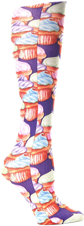 Celeste Stein Therapeutic Compression Socks, Purple Cupcakes, 8-15 mmhg, .6 Ounce