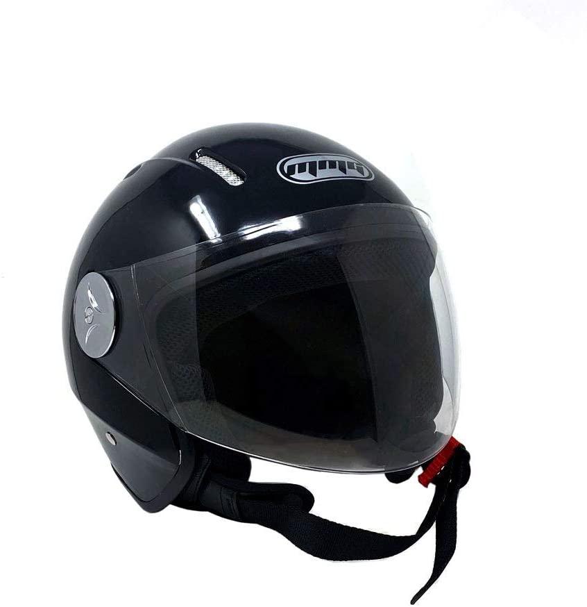MMG 51 Motorcycle Scooter Pilot Open Face Helmet DOT, Shiny Black, Large
