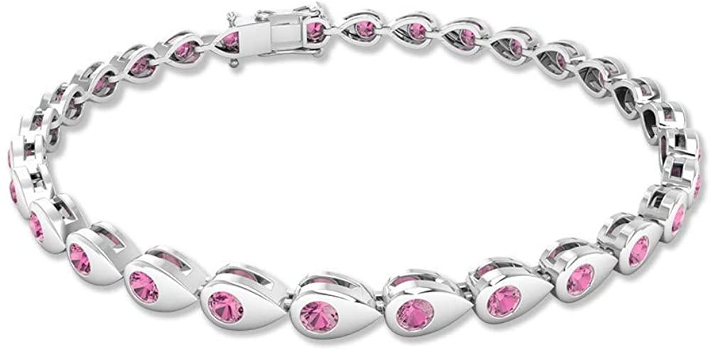 2.03 CT Certified Pink Tourmaline Tennis Bracelet, Vintage October Birthstone Stacking Charm Bracelet, Custom Unique Bridal Wedding Statement Bracelet