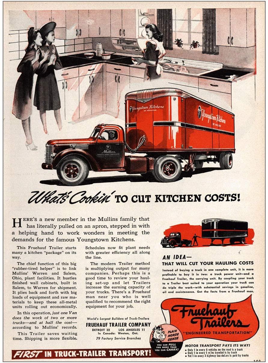 RelicPaper 1936 Fruehauf Trailers: Cut Kitchen Costs, Fruehauf Trailer Print Ad