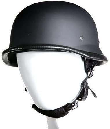 EXCELSIOR INT Motorcycle German Novelty Riders Padded Flat Black Helmet 3 PLY Fiber Chin Strap S,M,L,XL,2XL (S, Flat)