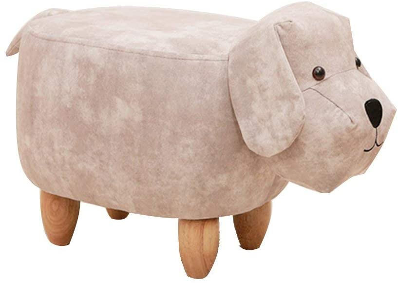 AMYZ Upholstered Ottoman Footstool,Animal Dog Ride-on Footrest Stool Coffee Table Sofa Entrance Bench Living Room-E