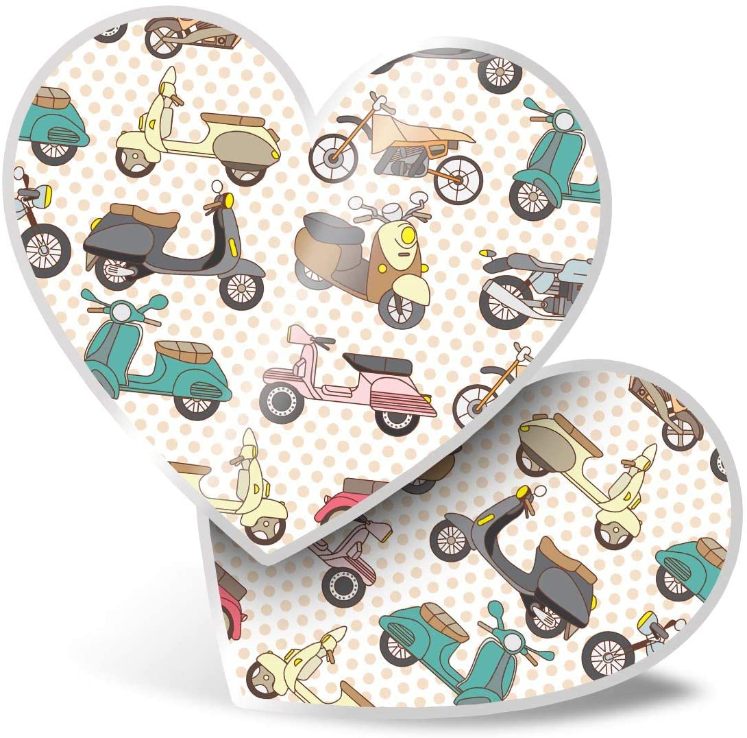 Awesome 2 x Heart Stickers 7.5 cm - Scooter Moped Vintage Art Fun Decals for Laptops,Tablets,Luggage,Scrap Booking,Fridges,Cool Gift #13025