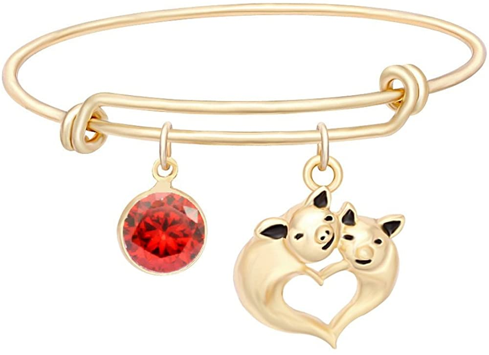 NOUMANDA New Personalized Cute Fly Pig Birthstone Expandable Bangle Best Gift for Women Girls