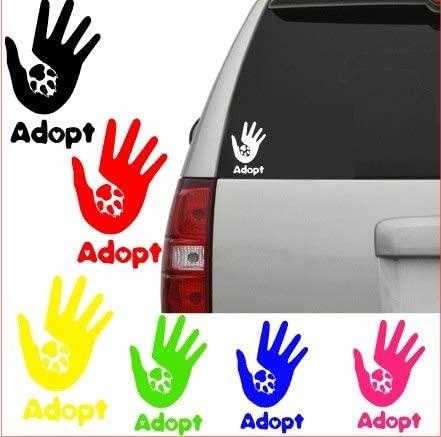 Hand paw Adopt Vinyl Window Decal (Blue)