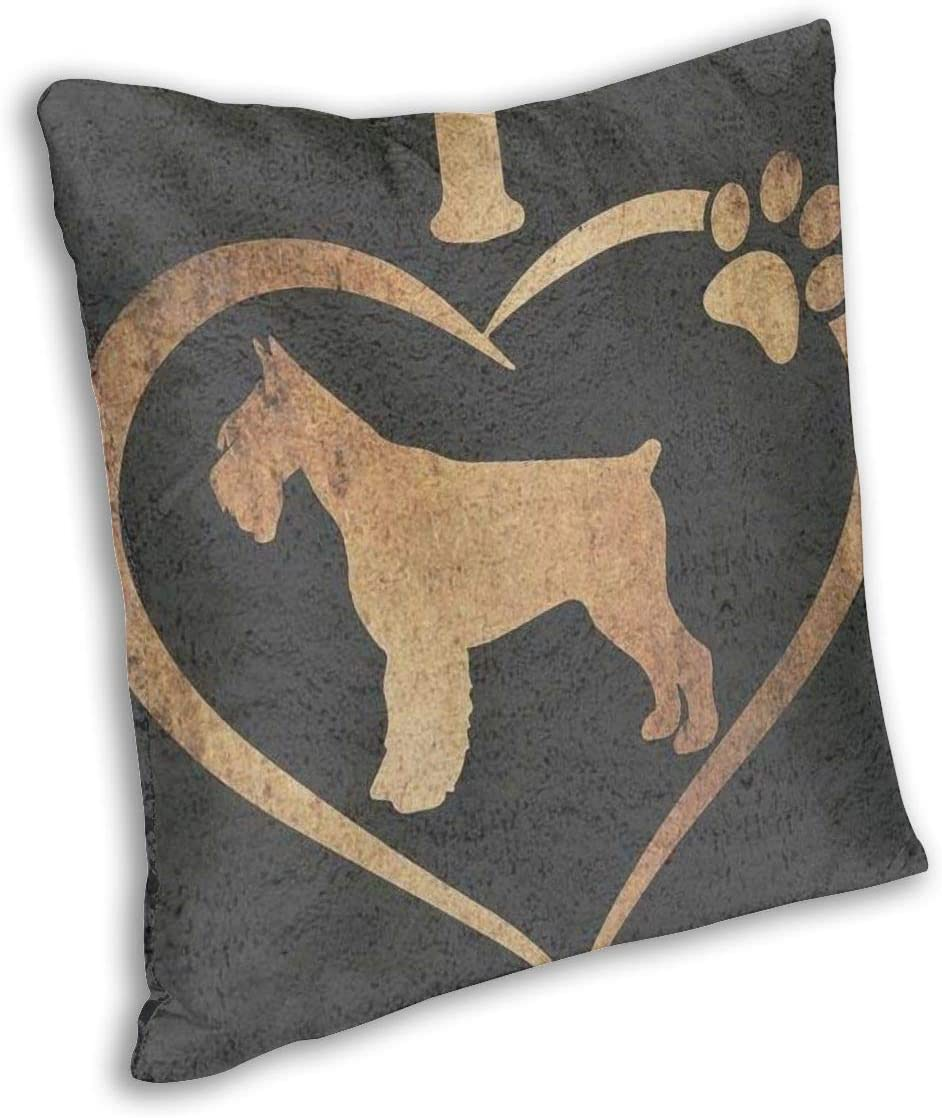 AUISS Square Throw Pillow Covers I Love My Schnauzer Dog Paw Protectors Bench 18 X 18 Inch Home Invisible Zipper
