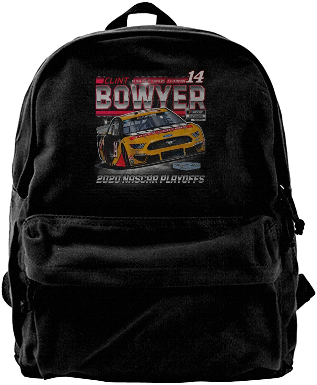Gerneric Clint Bowyer 14 Canvas Backpack Lightweight Travel Daypack Student Rucksack Laptop Backpack