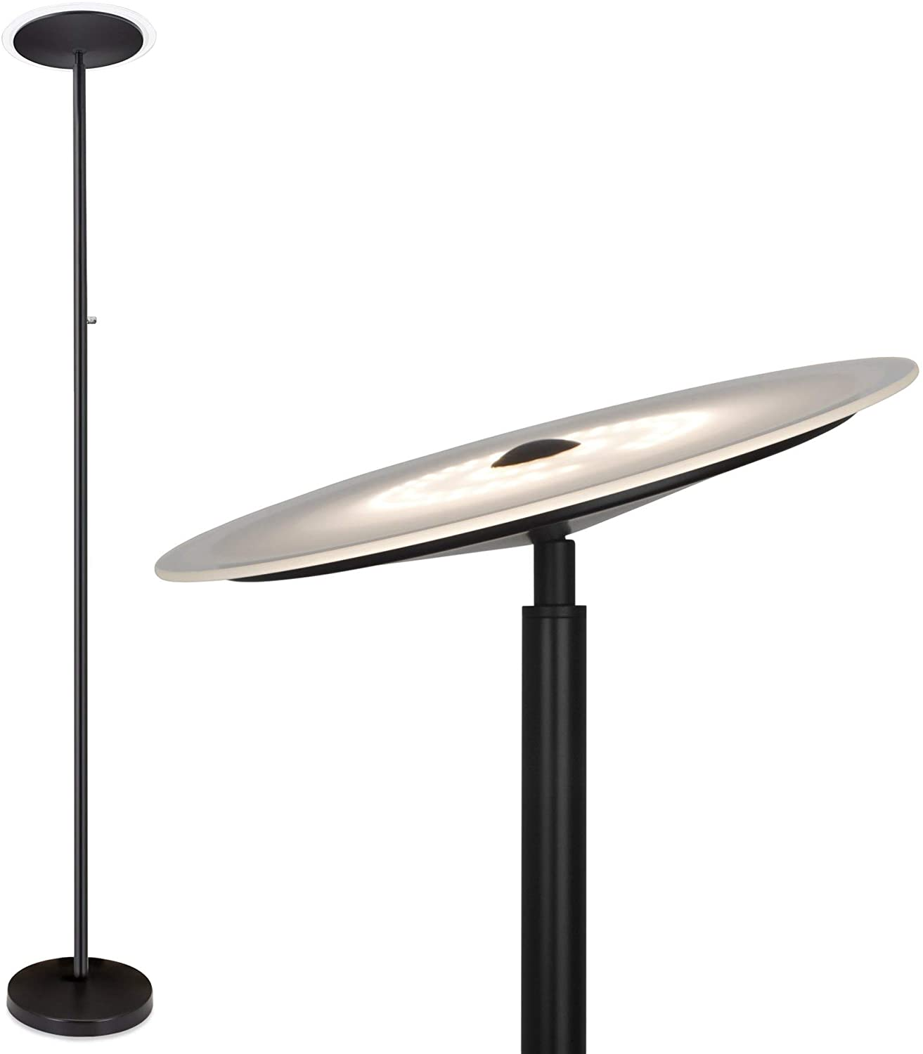 Kira Home Horizon 70 Modern LED Torchiere Floor Lamp (36W, 250W eq.), Glass Diffuser, Dimmable, Timer and Wall Switch Compatible, Adjustable Head, 3000k Warm White Light, Black Finish