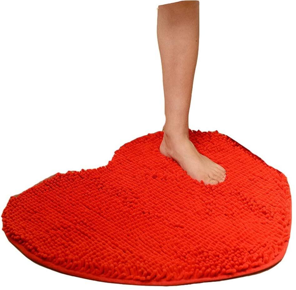 YADSHENG Carpet Love Heart Shape Solid Non Slip Absorbs Doormat Washable Entrance Rug Carpet Shoes Scraper Door Mat for Entry Garage Patio Front Door Home Office Kitchen Area Rugs (Color : Red)