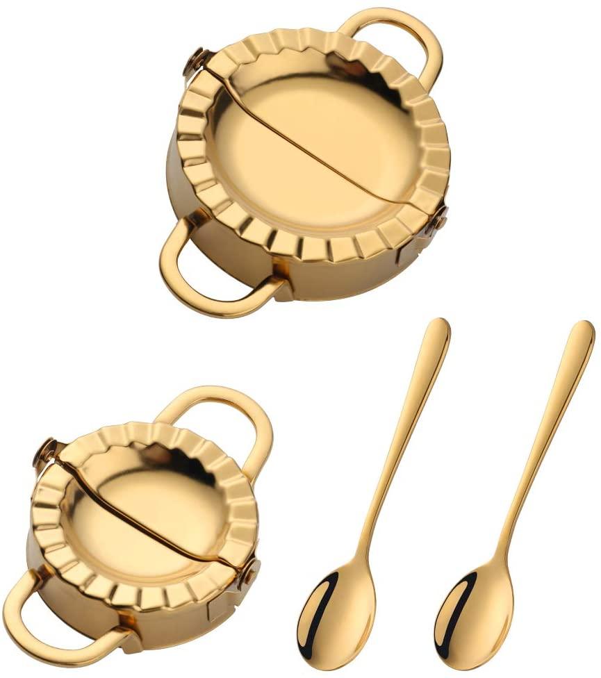 Dumpling Press,2 Size 18/8 Stainless Steel Dumpling Molds Dumpling Maker by Buy THINGS!(Gold)