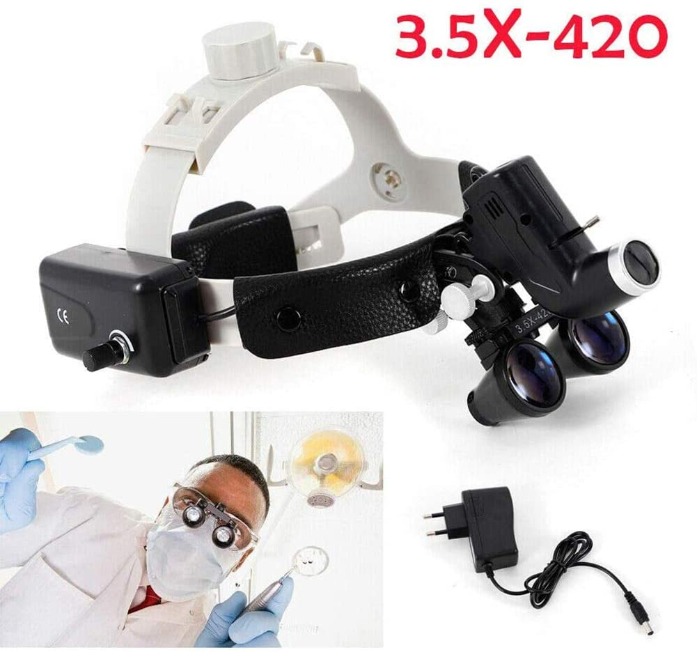 WLKQ Dental Binocular Loupes - Surgical Medical Binocular Loupes - Medical Dental Surgical Binocular Loupes - 3.5 x 420 mm Surgical Dental Surgical Dental Headband Magnifier Head Lamp