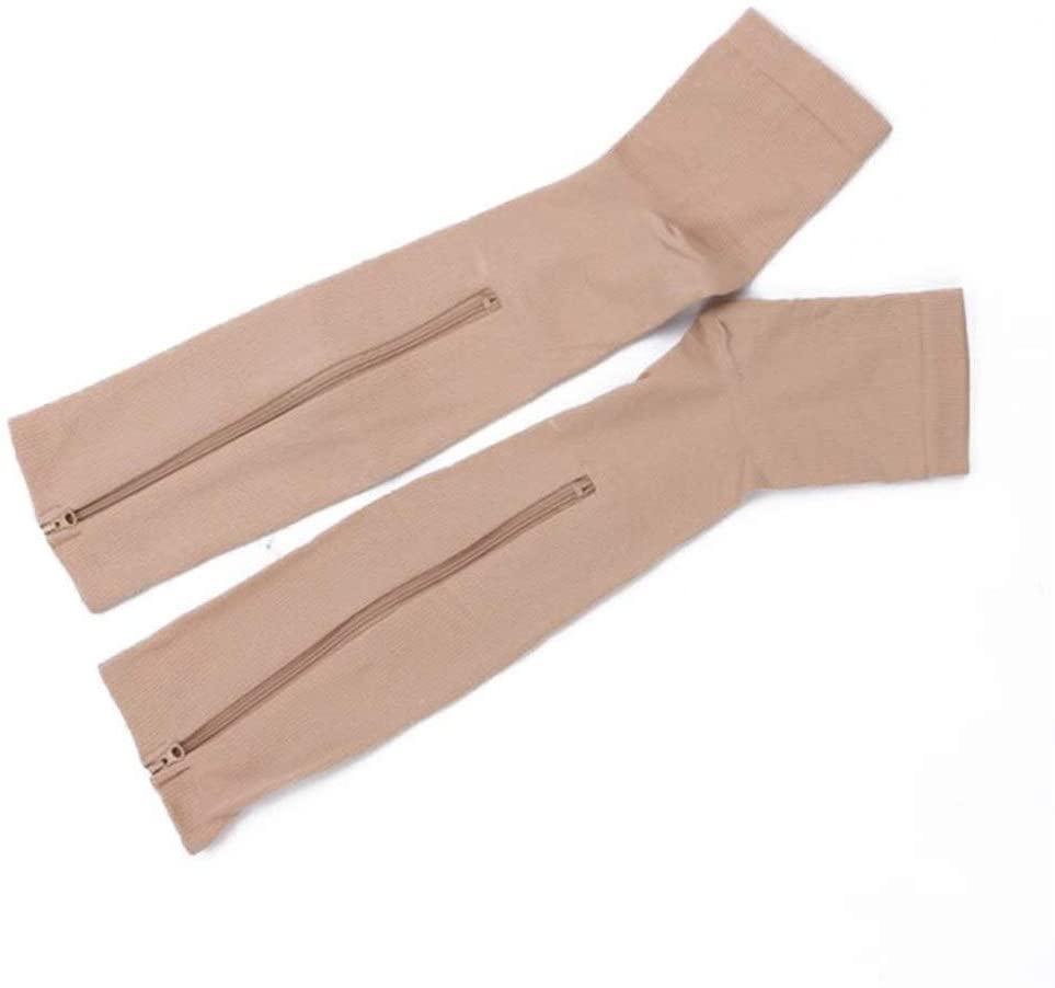 Burn Fat Zipper Compression Socks Women's Slim Sleeping Beauty Leg Prevent Varicose Veins Socks Medias De Mujer (Color : Skin, Size : XXL)