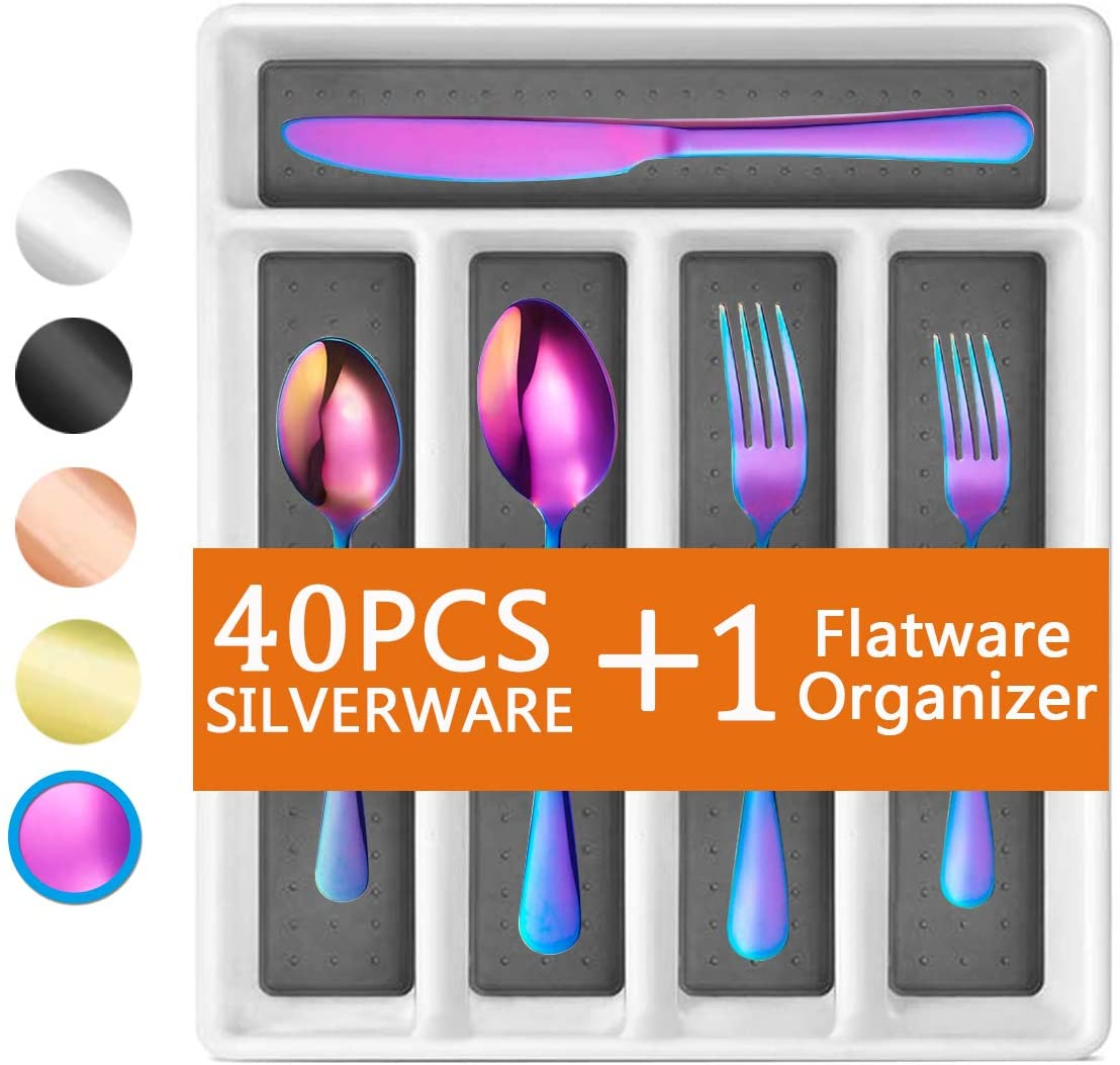 Rainbow 40-Piece Silverware Set, Flatware Set with Organizer Mirror Polished, Dishwasher Safe Service for 8, Include Knife Fork/Spoon with 5-Compartment Non Slip Drawer Organizer Box Tray(Rainbow)