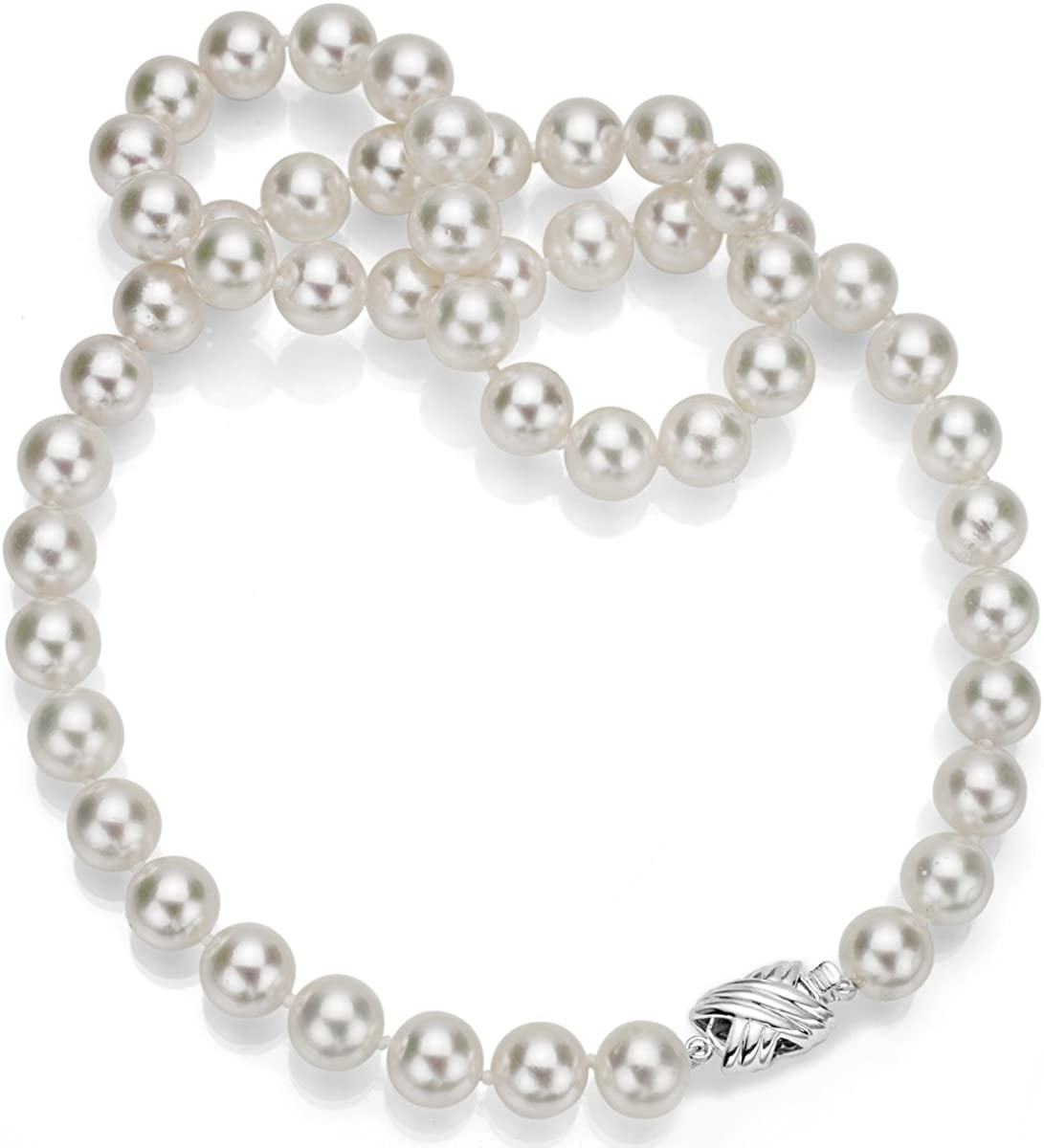 14k White Gold 12-12.5mm White Freshwater Cultured High Luster Pearl Double-sided Clasp Necklace 18