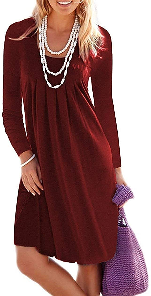 Jouica Women's Casual Long Sleeve Knee Length Pleated Dresses with Pockets