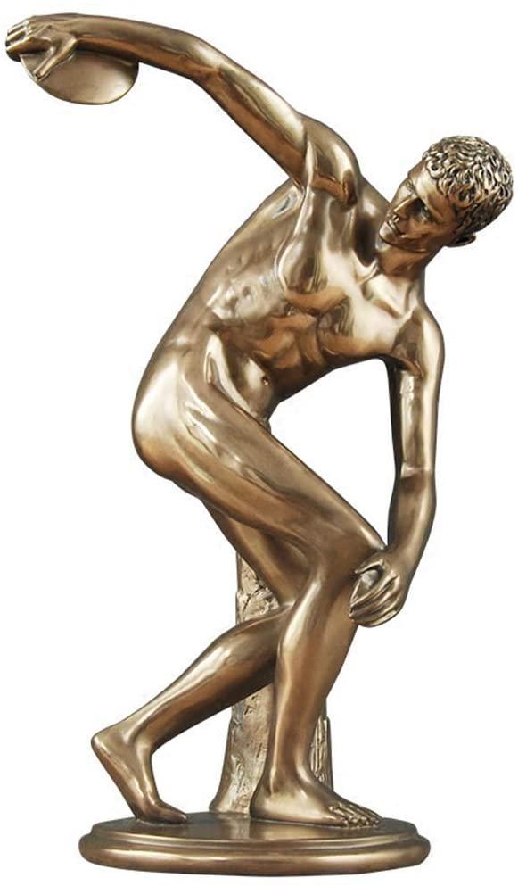 LIUSHI Discus Thrower Figure Statue Decoration, Bronze Figure Handicraft Model Office Wine Cooler Desk Decoration Decoration H34CM