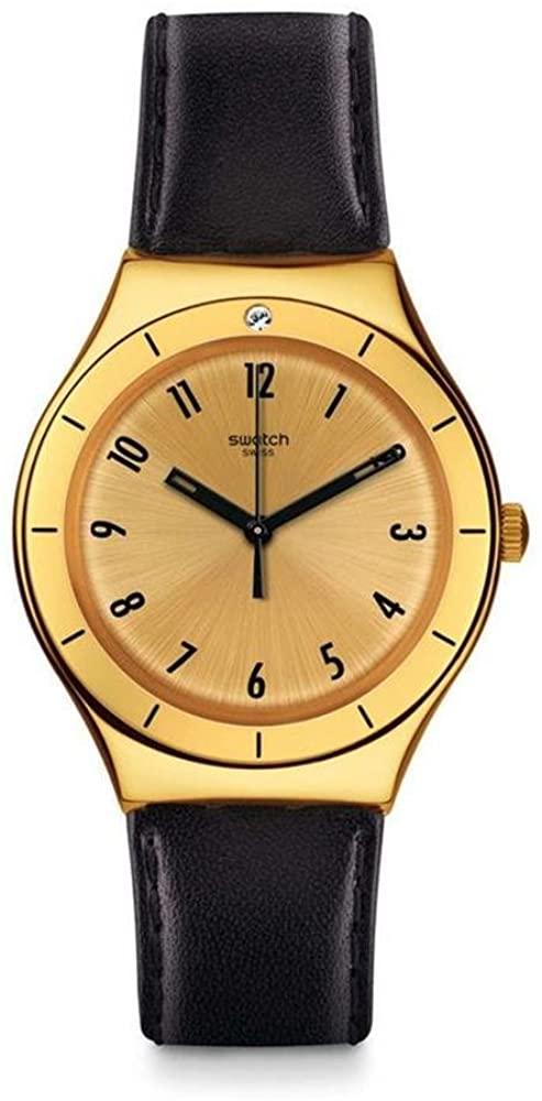 Swatch Irony Quartz Movement Gold Dial Unisex Watch YGG105