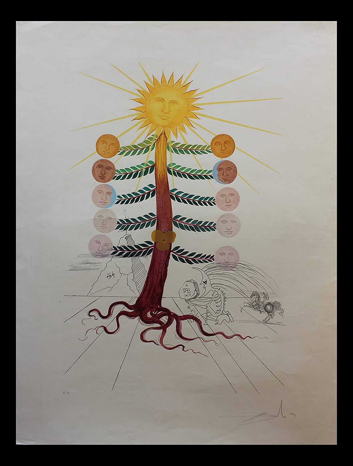 Salvador Dali- Luna Geminata (Moon) Catalog no. OI 68-3 F Limited Edition Lithograph with original engraved remarques plus color Flora Dalinae | Certificate of Authenticity by Frank Hunter | 1968
