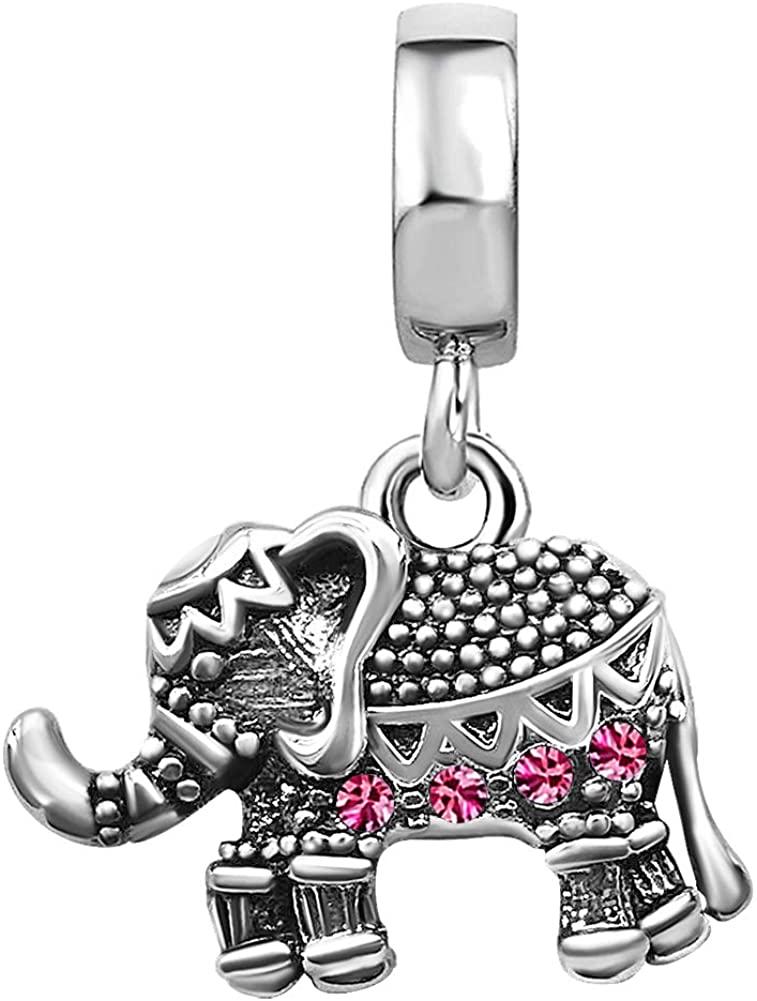 TGLS Lucky Elephant Charm Dangle Animal Beads with Jan-Dec Simulated Birthstone for Bracelets
