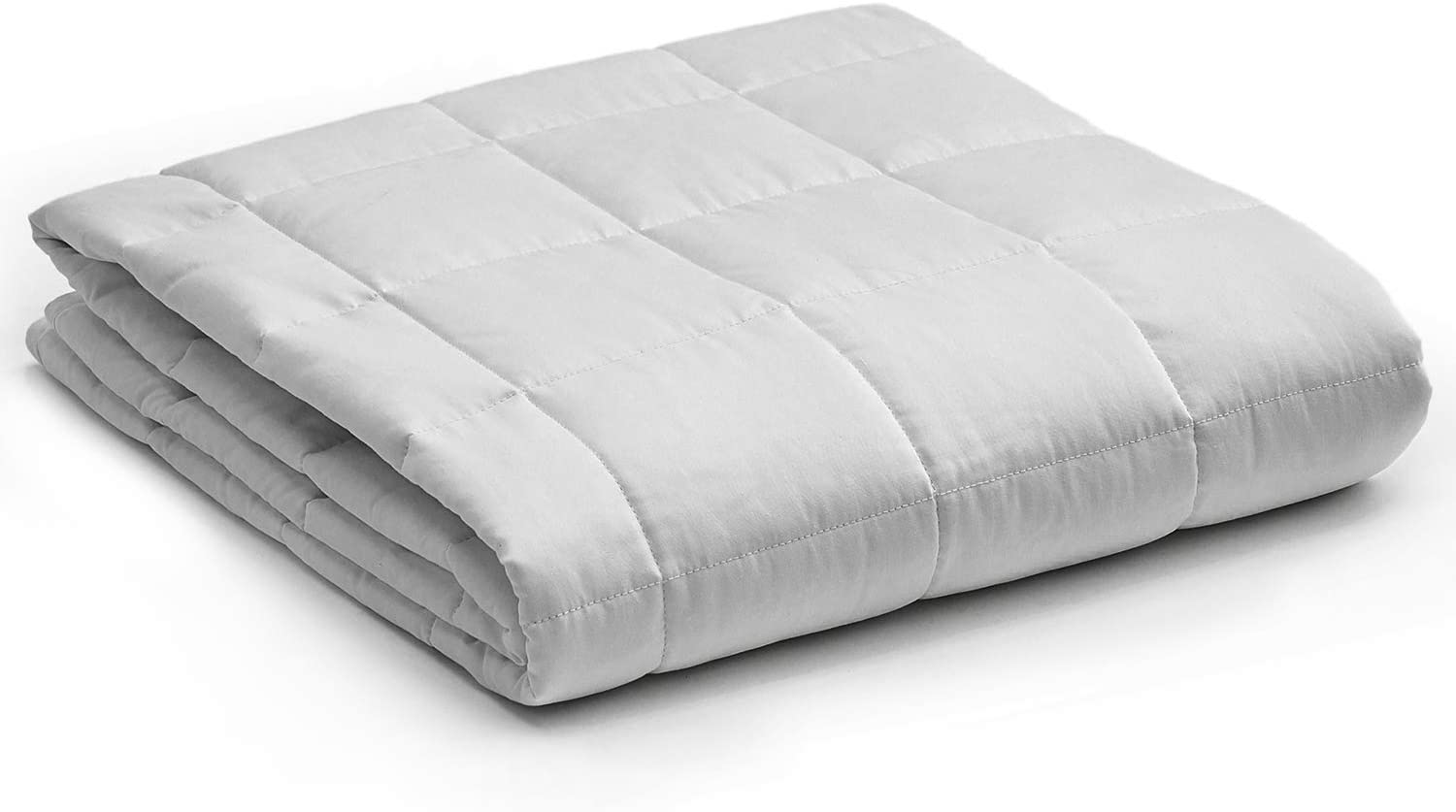 YnM Weighted Blanket — Heavy 100% Oeko-Tex Certified Cotton Material with Premium Glass Beads (Light Grey, 60''x80'' 22lbs), Suit for One Person(~210lb) Use on Queen/King Bed