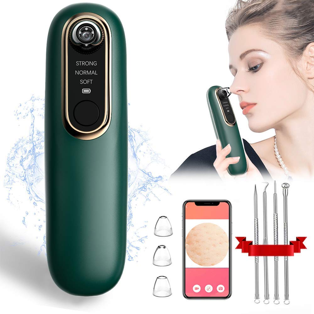 Blackhead Remover Vacuum, Blackhead Removal Pore Vacuum Kit, 20X Magnification Visual WIFI Facial Pore Cleaner, 3 Adjustable Suction Modes, Include Acne Pimple Popper Beauty Tool Kit (Green)
