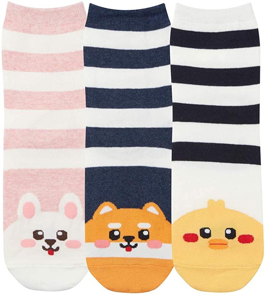 GRISIM Womens Japanese Anime Cute Animal Fun Food Pattern Crew Socks Best Gift Under $20 3-5 Pairs Size 6-9