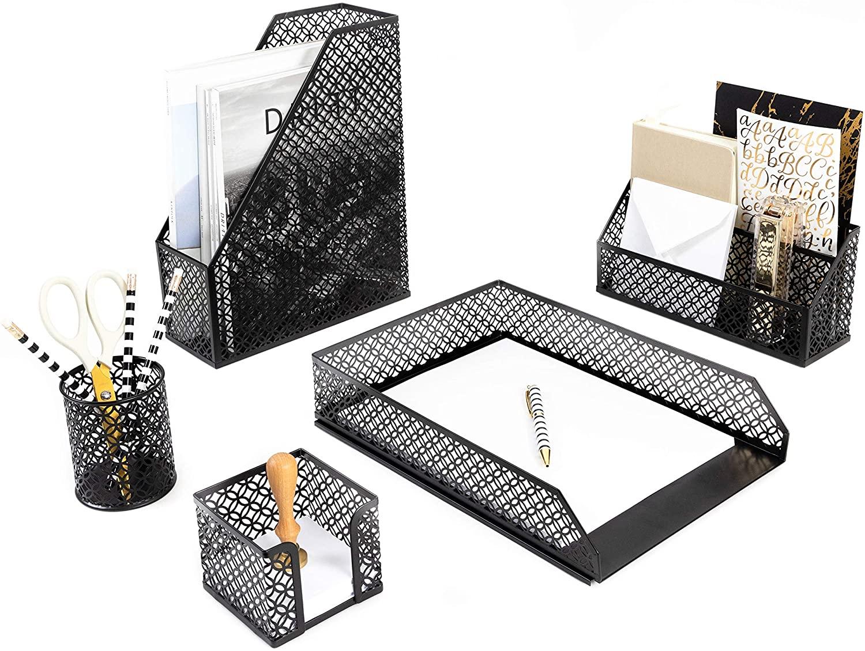 Blu Monaco Black Desk Organizer - 6 Piece Desk Accessories Set - Letter - Mail Organizer, Sticky Note Holder, Pen Cup, Magazine File Holder, Paper - Document Tray - Black