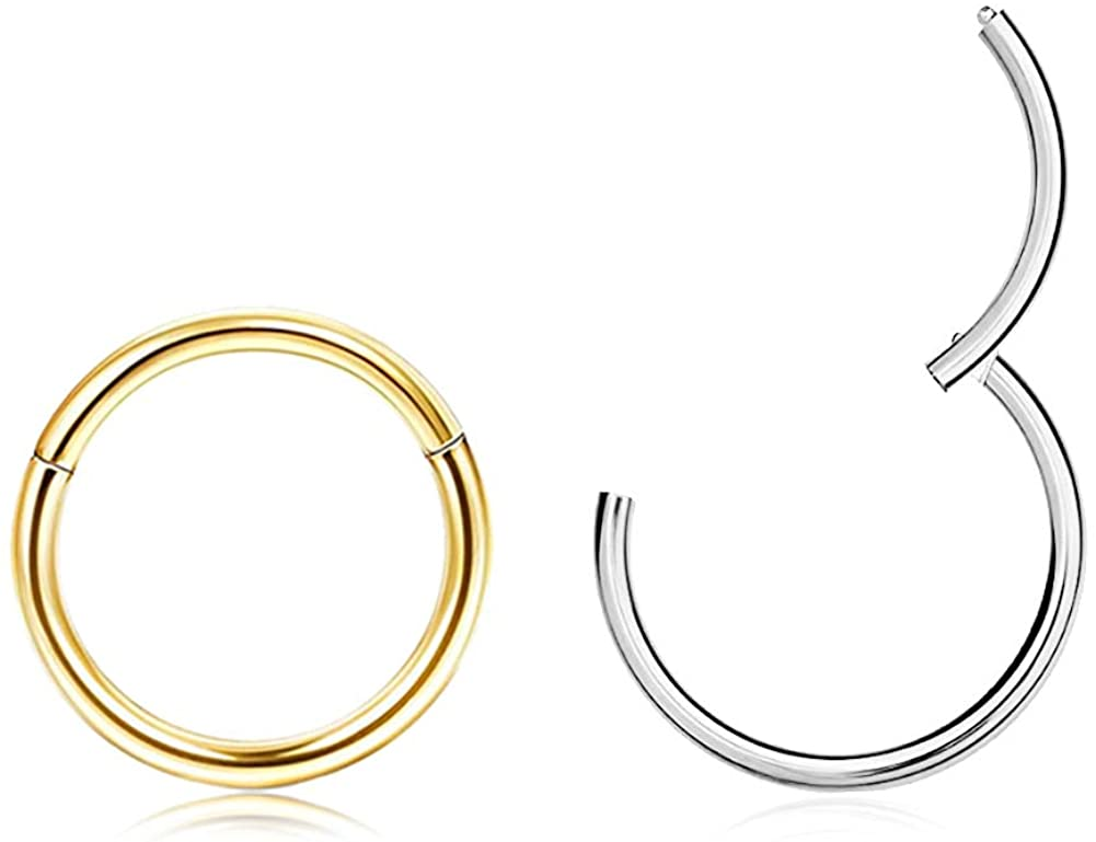 EXGOX 316L Surgical Stainless Steel 18G Hypoallergenic Hoop Sleeper Cartilage Earrings Gold Plated Silver Tiny Hinged Seamless Continuous Segment Ring for Women and Men Body Piercing