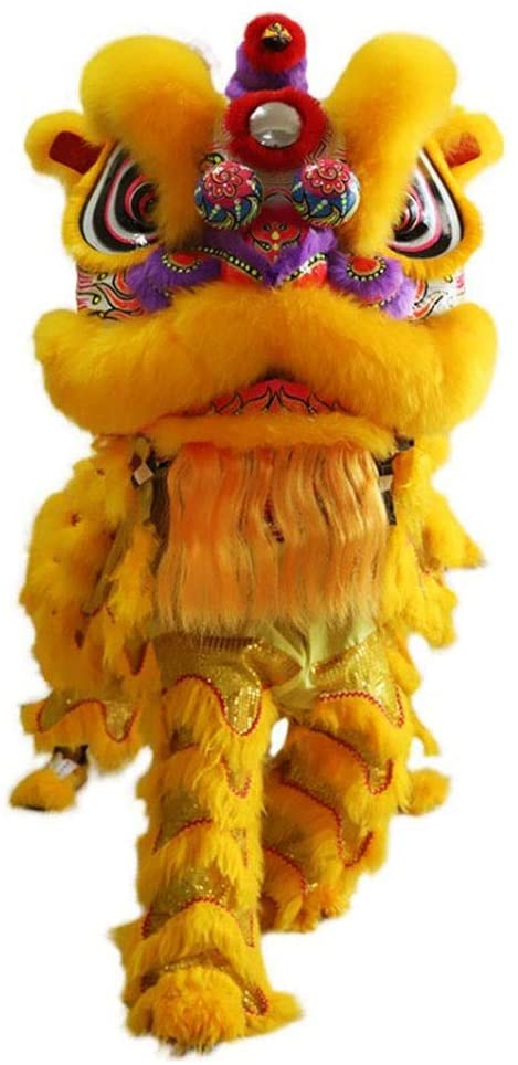 Chinese Traditional Folk Art Authentic Lion Dance Costumes Traditional Chinese Lion Dance Festival Rally Celebration Stage Performance-2 People Use (Color : Yellow)