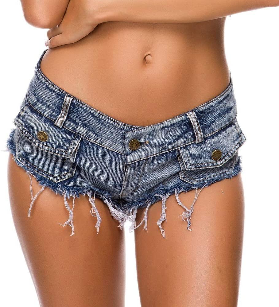 GEQWE Women's Sexy Denim Shorts Women's Buttons Low Waist Distressed Mini Denim Shorts Club Sexy Costume for Dating Shopping Beach Denim Shorts (Color : Light Blue, Size : M)